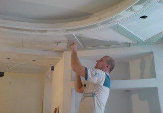 Монтаж потолка из гипсокартона в Перми