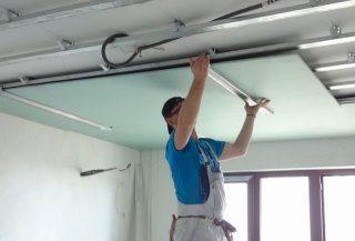 Фото процесса Монтаж потолка из гипсокартона в Перми